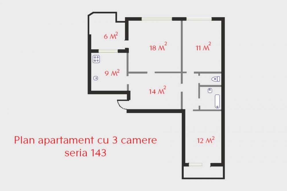 Design baie și amplasare obiecte sanitare în apartament cu 3 camere seria 143